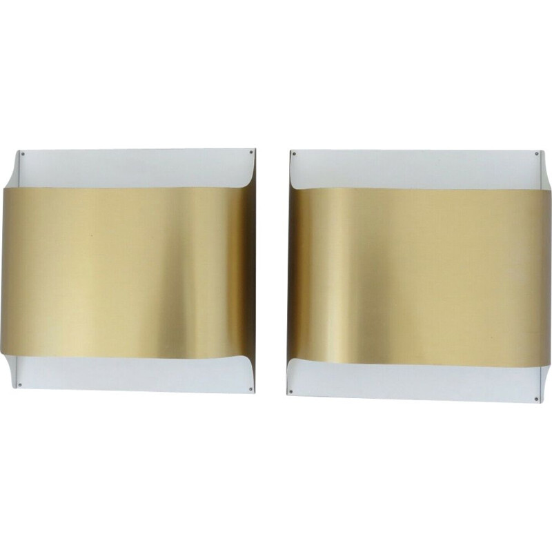 Pair of vintage wall lamps in brass Staff by Dieter Witte & Rolf Kruger 1970s