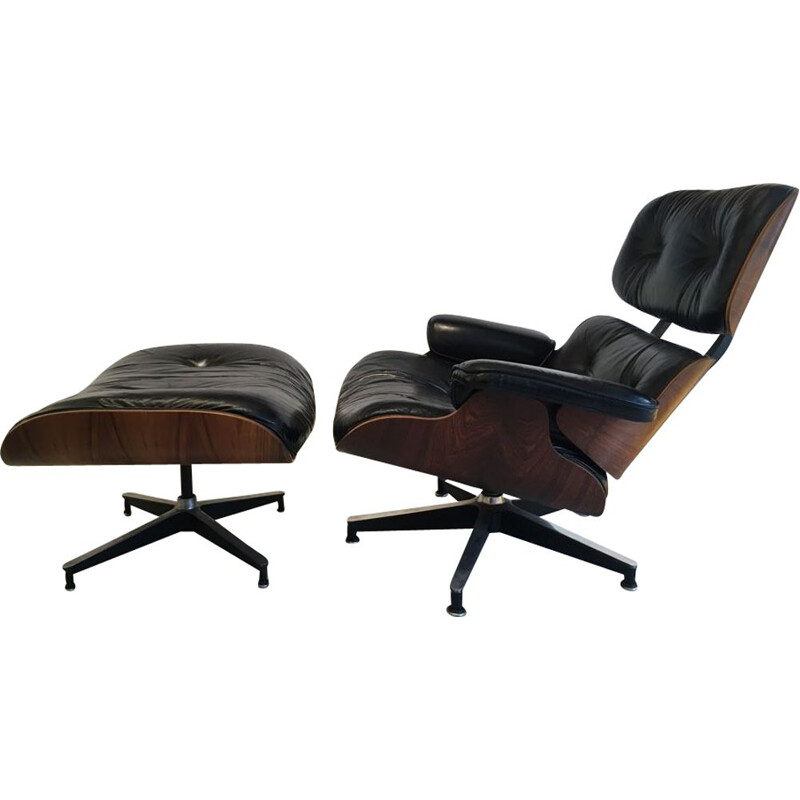 Vintage lounge chair Eames in rosewood Edition Herman Miller 1975