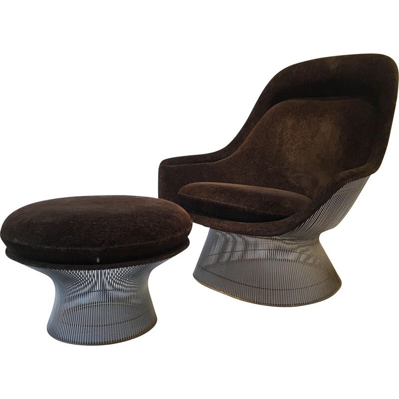 Vintage armchair and ottoman by Warren Platner Knoll Edition 1960