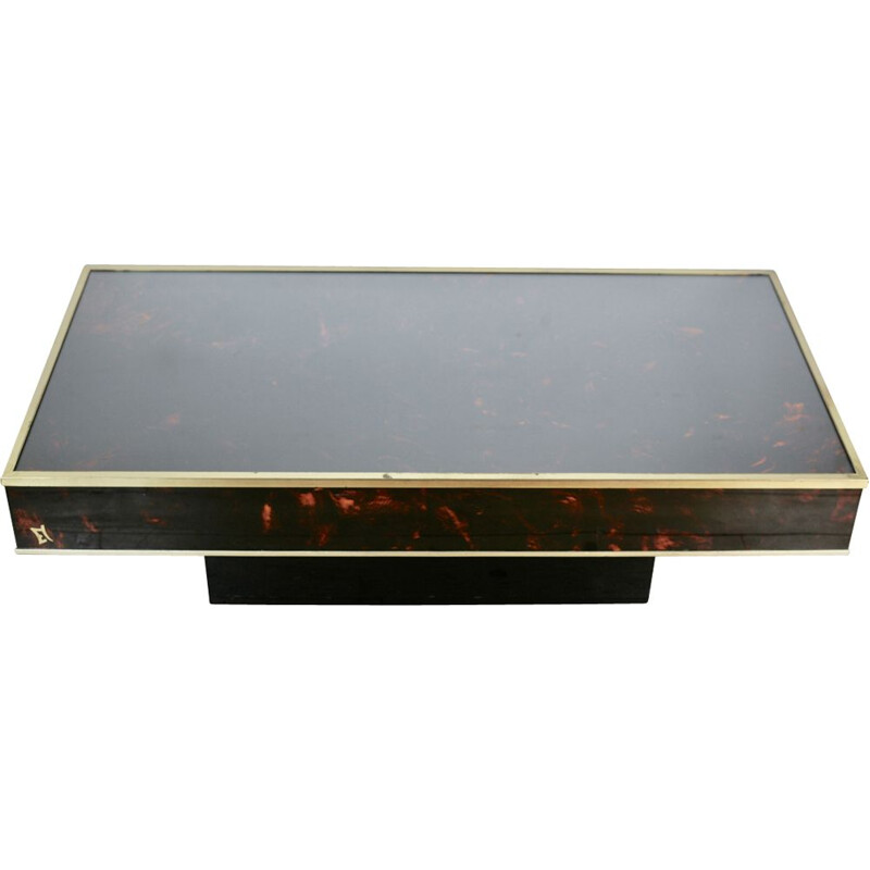 Vintage coffee table by Eric Maville in altuglas and brass France 1970s