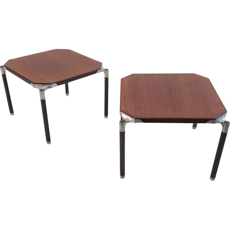 Vintage side tables Mim Roma in mahogany circa 1950