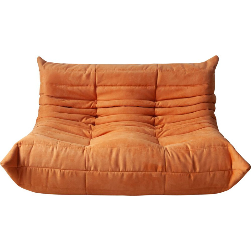 Vintage 2-Seat Sofa Togo Orange Microfibre by Michel Ducaroy for Ligne Roset 1970s