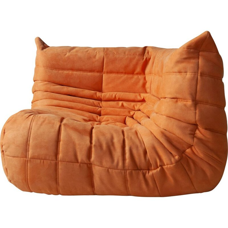 Vintage Corner Couch Togo Orange Microfibre by Michel Ducaroy for Ligne Roset 1970s