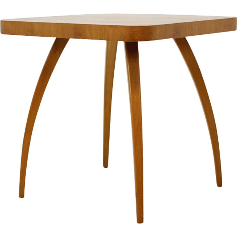 Vintage coffee table Spider in oak by J. Halabala 1950s