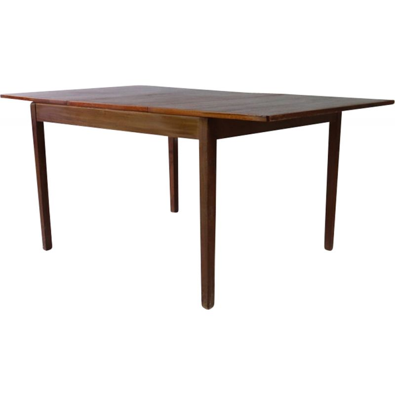 Vintage dining table solid Afrormosia extending Denmark 1970s