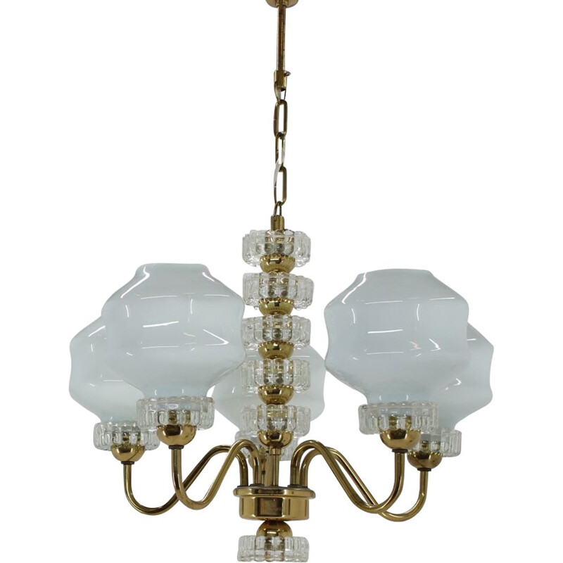 Set of one vintage chandelier and one wall lamp