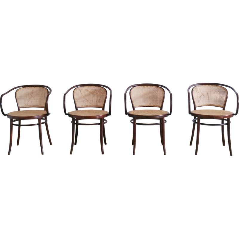 Set of 4 vintage No. 210 bentwood chair from Ligna