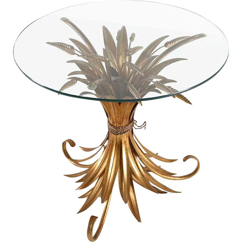 Vintage Coco Chanel wheat leaf coffee table