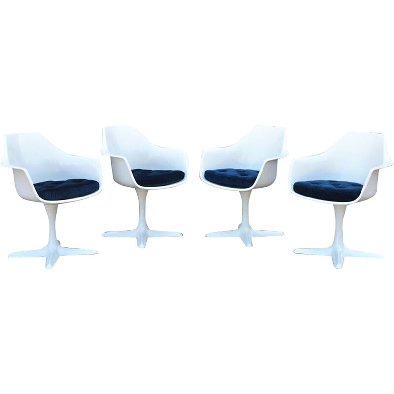 Set of 4 vintage model 116 chairs for Arkana in white plastic and metal 1960
