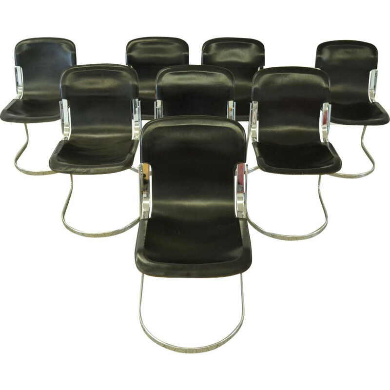 Set of 8 vintage chairs black leather by Willy Rizzo for Cidue