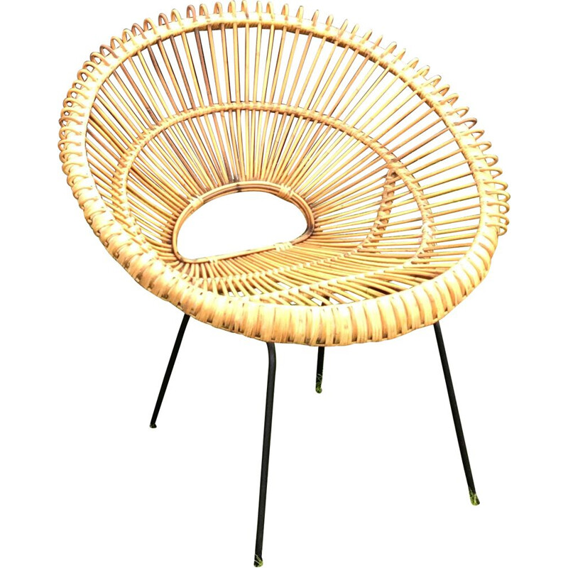 Vintage armchair in rattan Dutch 1960s