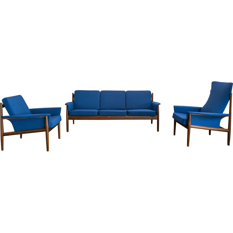 Vintage living room set blue by Grete Jalk for France & Son 1960s