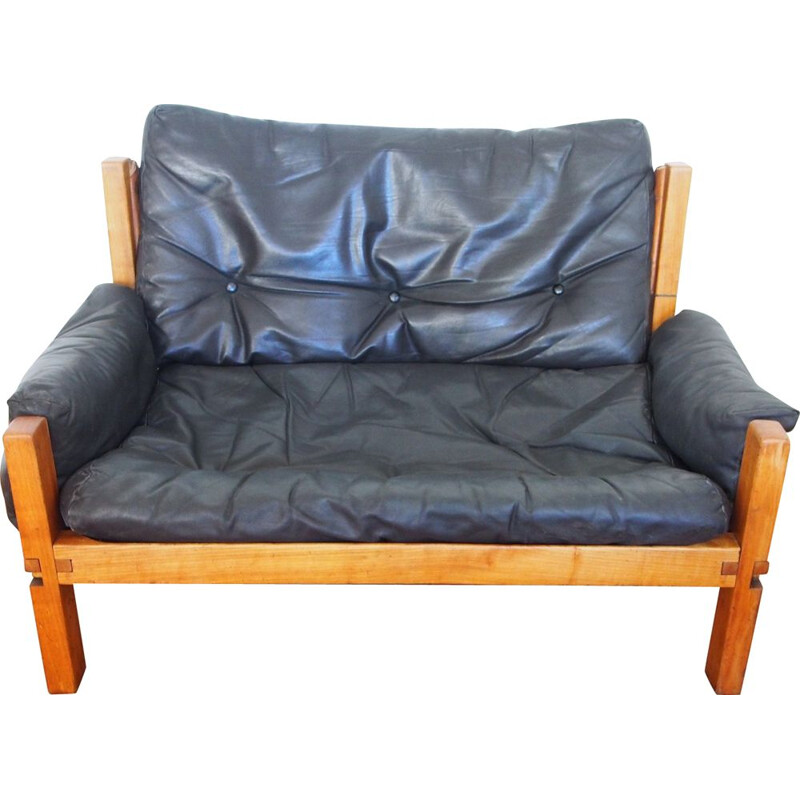 Vintage 2-seater sofa S15 by Pierre Chapo 1960s