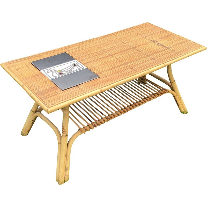 Vintage coffee table in rattan and ceramic by R. Capron France 1960s