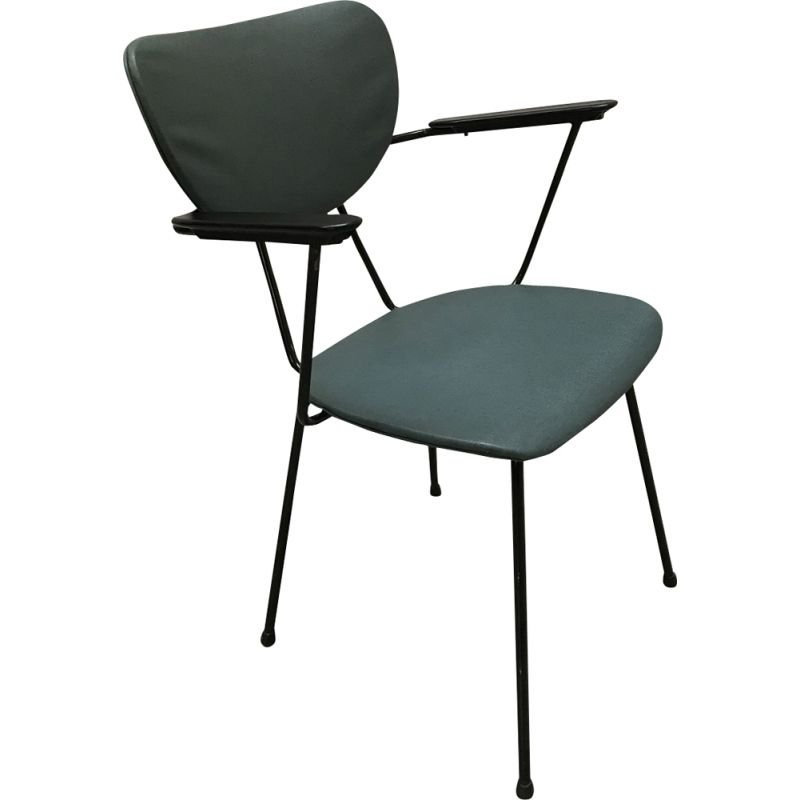 Set of 4 vintage chairs for Kembo in green leatherette and bakelite 1950
