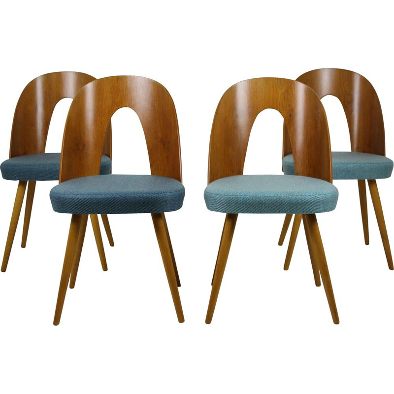 Set of 4 vintage chairs for Tatra in bent plywood and blue fabric 1960