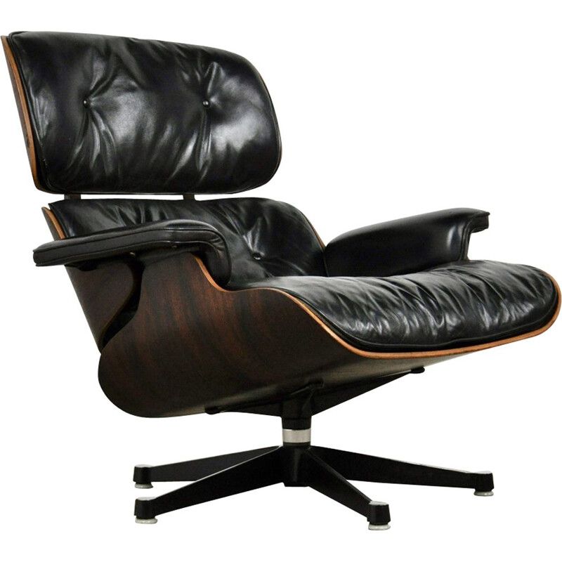 Vintage Lounge chair by Eames for Miller in rosewood and black leather 1970