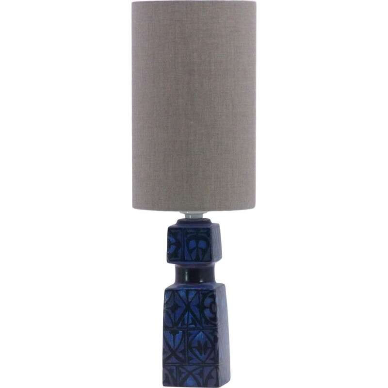 Scandinavian vintage lamp for fog & Morup in blue ceramic 1960