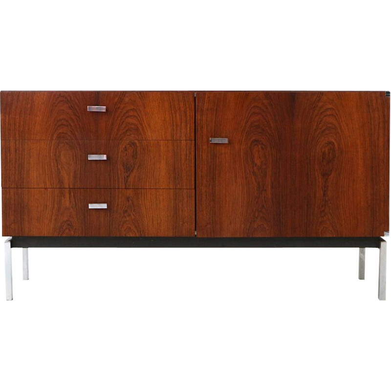 Vintage german sideboard in rosewood and metal 1970