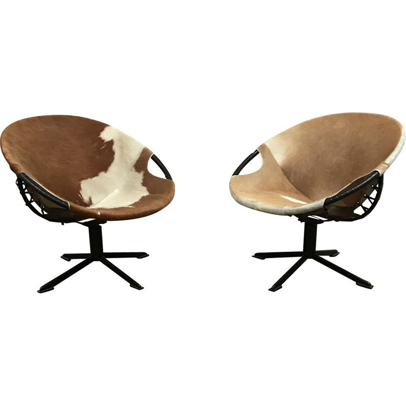 Pair of vintage Balloon armchairs Lusch & co in skin 1960 skin