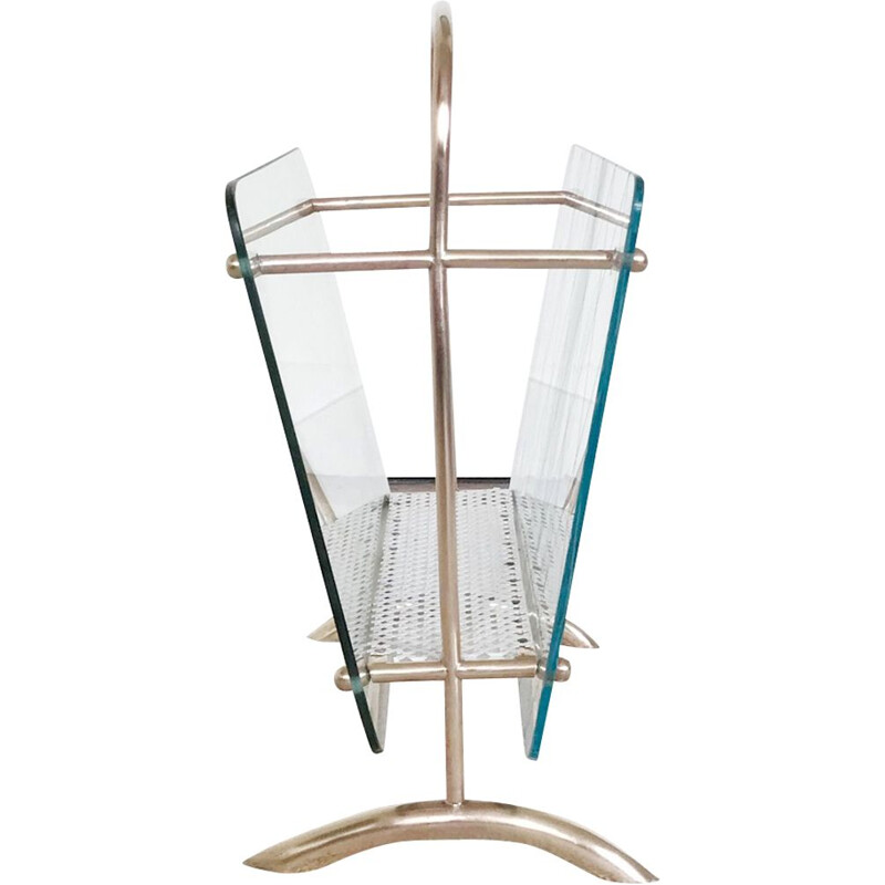 Italian vintage magazine rack in brass and glass 1950