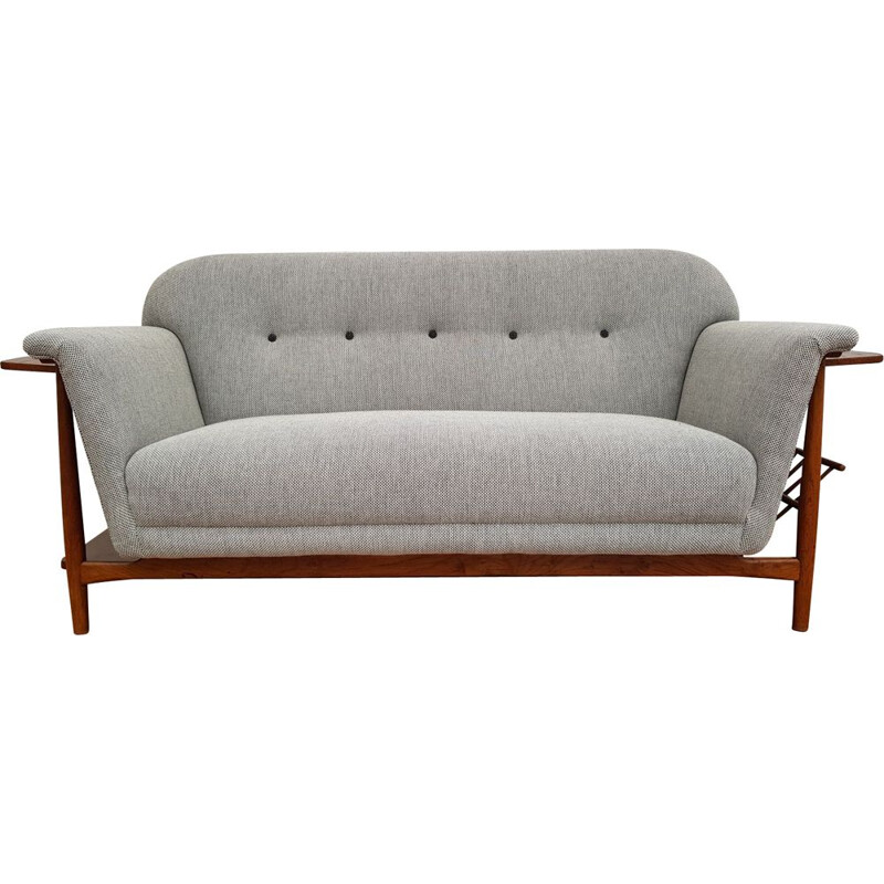 Vintage danish sofa in grey wool and oakwood 1960