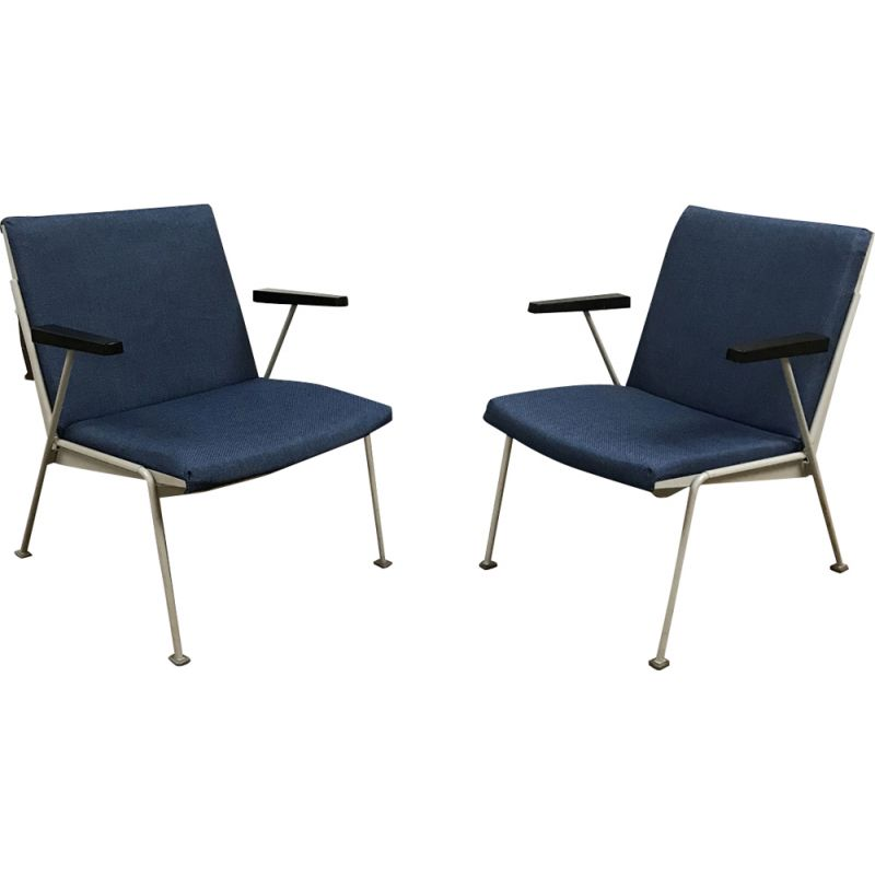 Pair of Dutch vintage armchairs by Oase Rietveld in blue fabric 1950