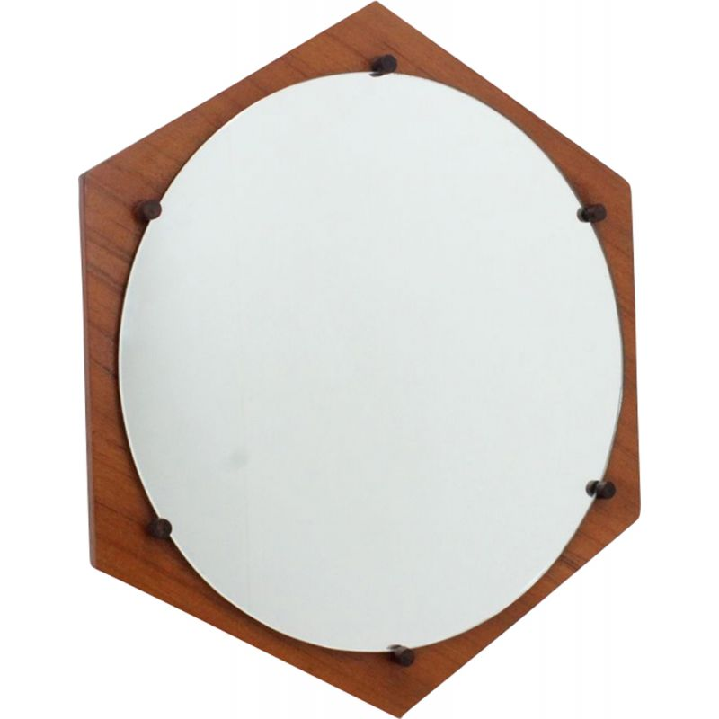 Vintage hexagonal teak mirror by ISA Bergamo 1950s