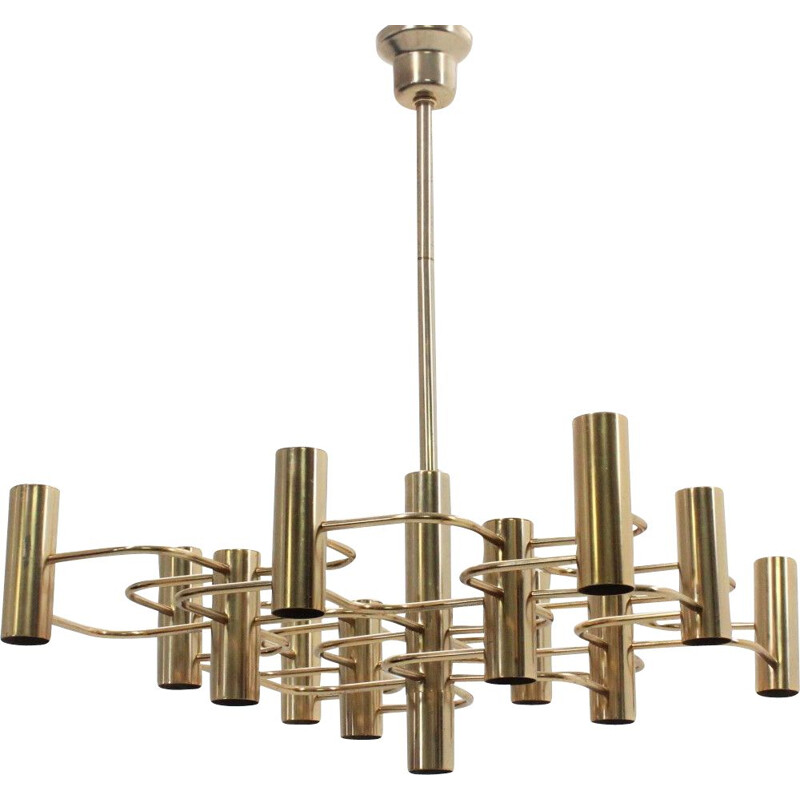 Vintage chandelier in metal brassed by Gaetano Sciolari 1970s
