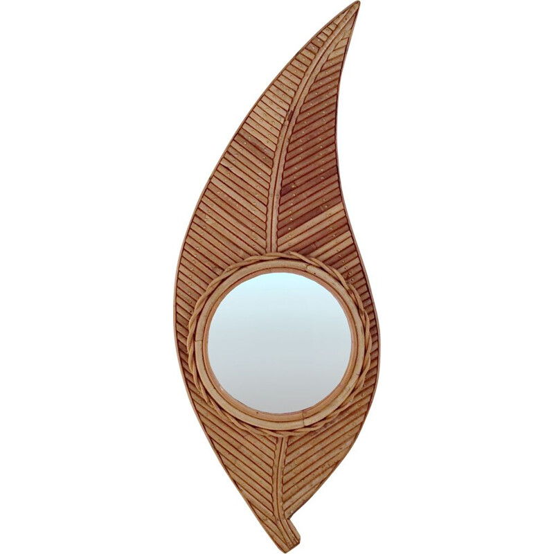 Vintage bamboo mirror 1970