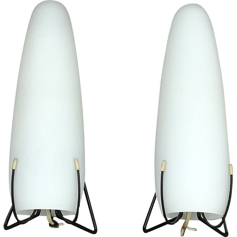 2 vintage opaline wall lights by Philips,1950
