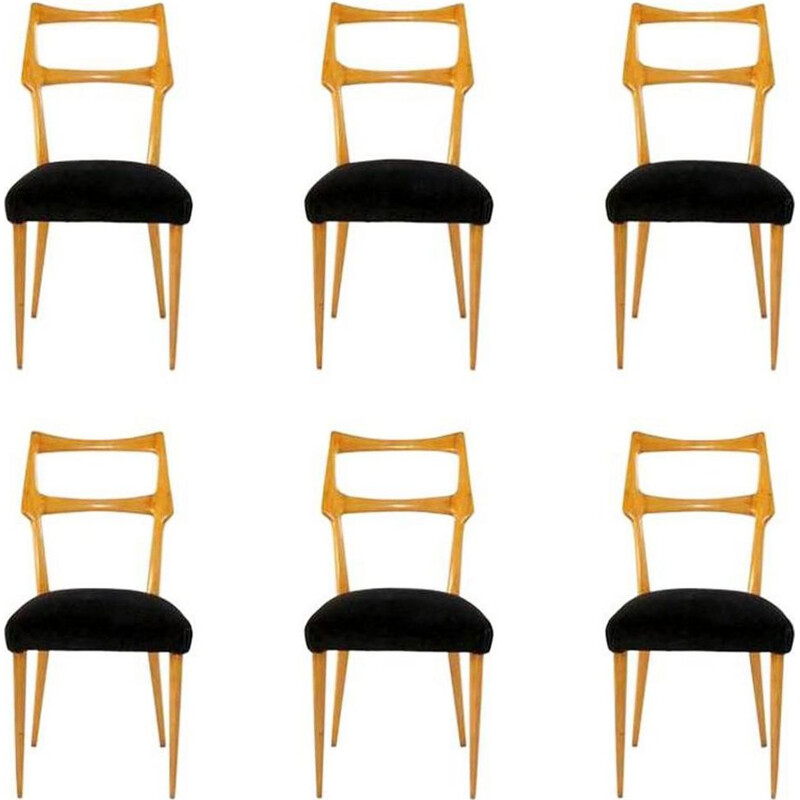 Set of 6 vintage dining chairs Italy 1950s