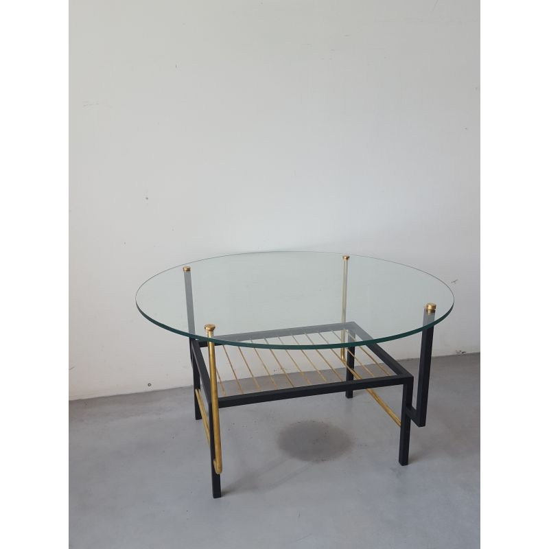 Round Vintage Glass Coffee Table 1960