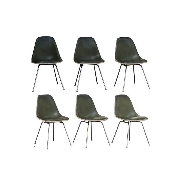 Set of 6 vintage chairs Eames DSX 1960s