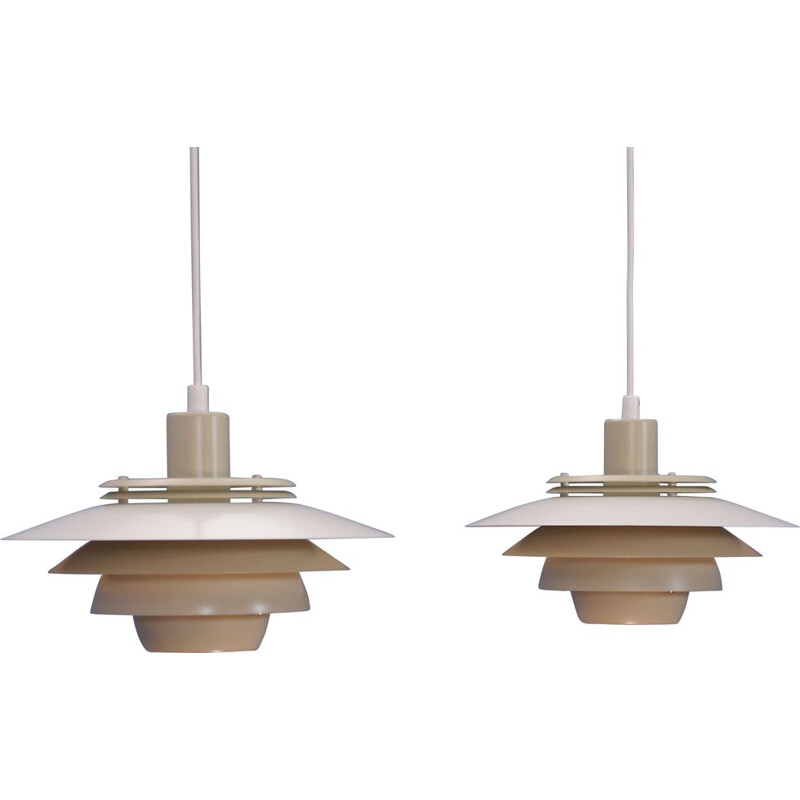 2 vintage Danish pendant light in white and beige by Jeka,1970