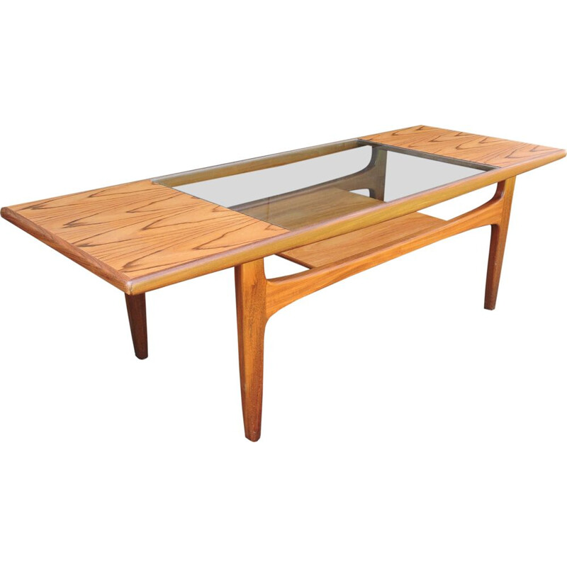 Vintage teak and glass coffee table by Victor Wilkins for G-Plan, 1960