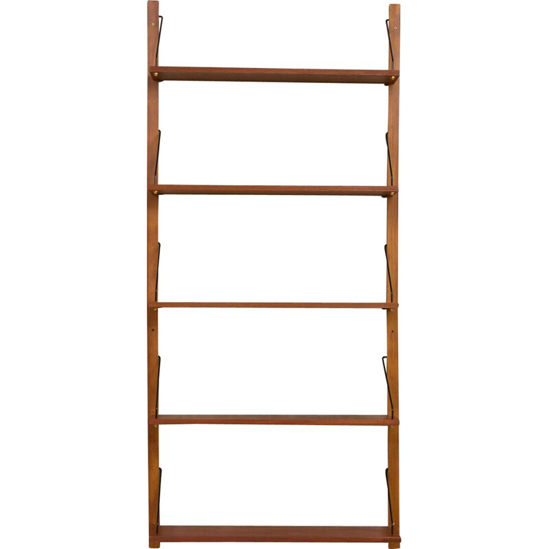 Vintage wall unit 5 shelves in teak Denmark 1960s