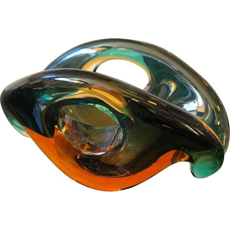 Vintage bowl in Sommerso Murano glass by Archimede Seguso 1970