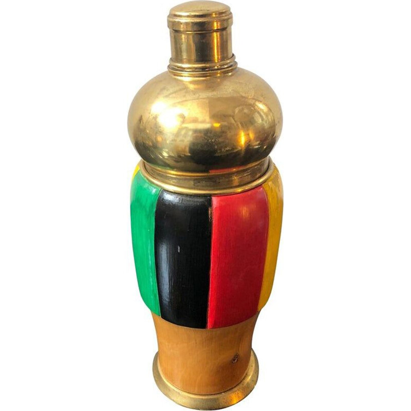 Vintage shaker multicolored wood and brass Italy 1950
