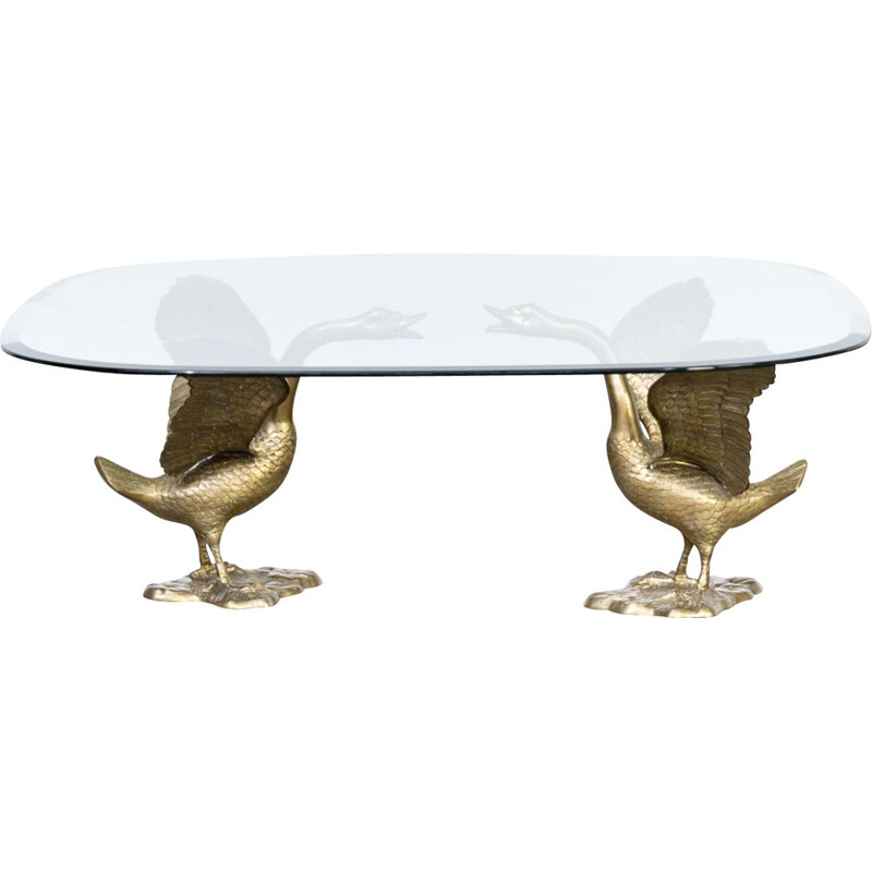 Vintage coffee table Goose with glass top 1970s