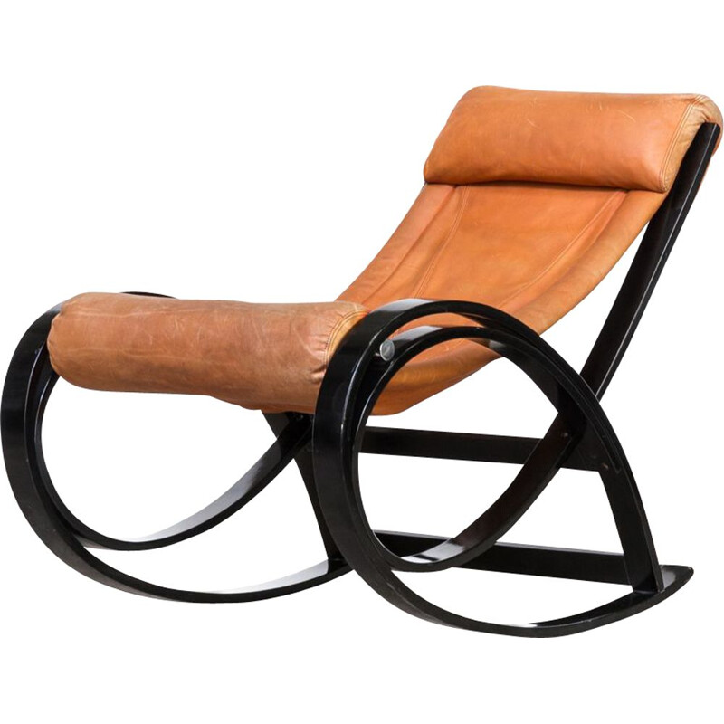 Vintage rocking chair Sgarsul by Gae Aulenti for Poltronova 1960s