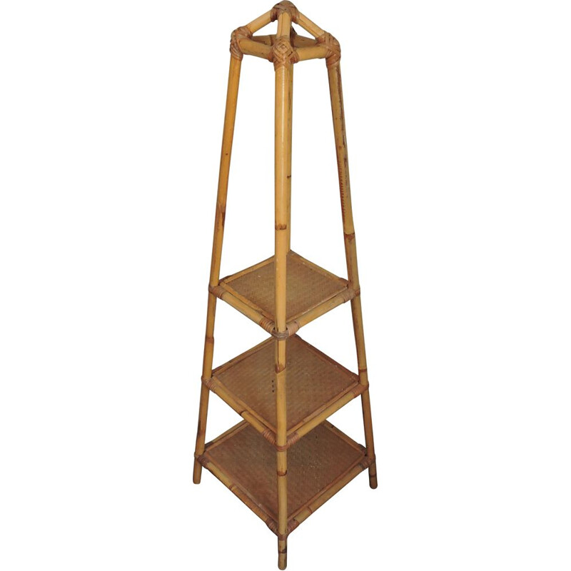 Vintage plant stand in bamboo and cane 1970s