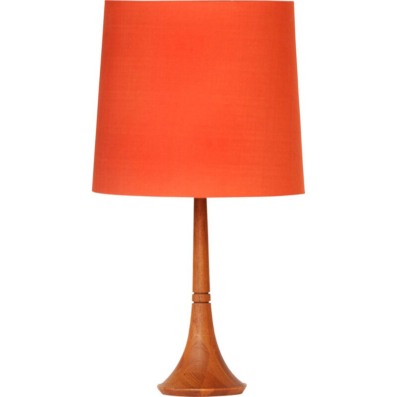 Vintage table lamp in teak with original linen shade, Sweden 1960s