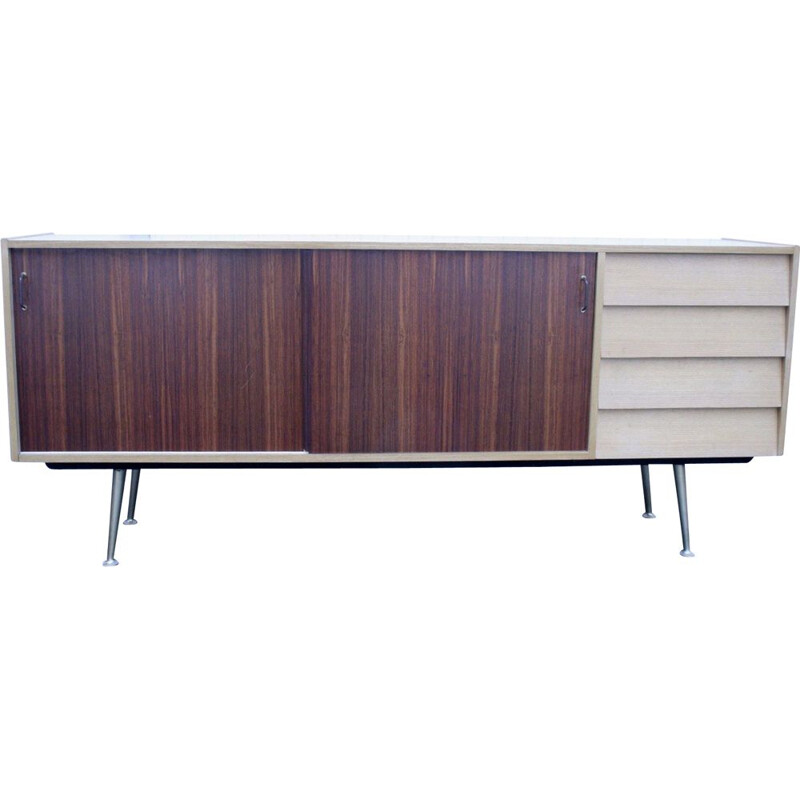 Vintage Sideboard with rosewood doors and brass legs 1950s