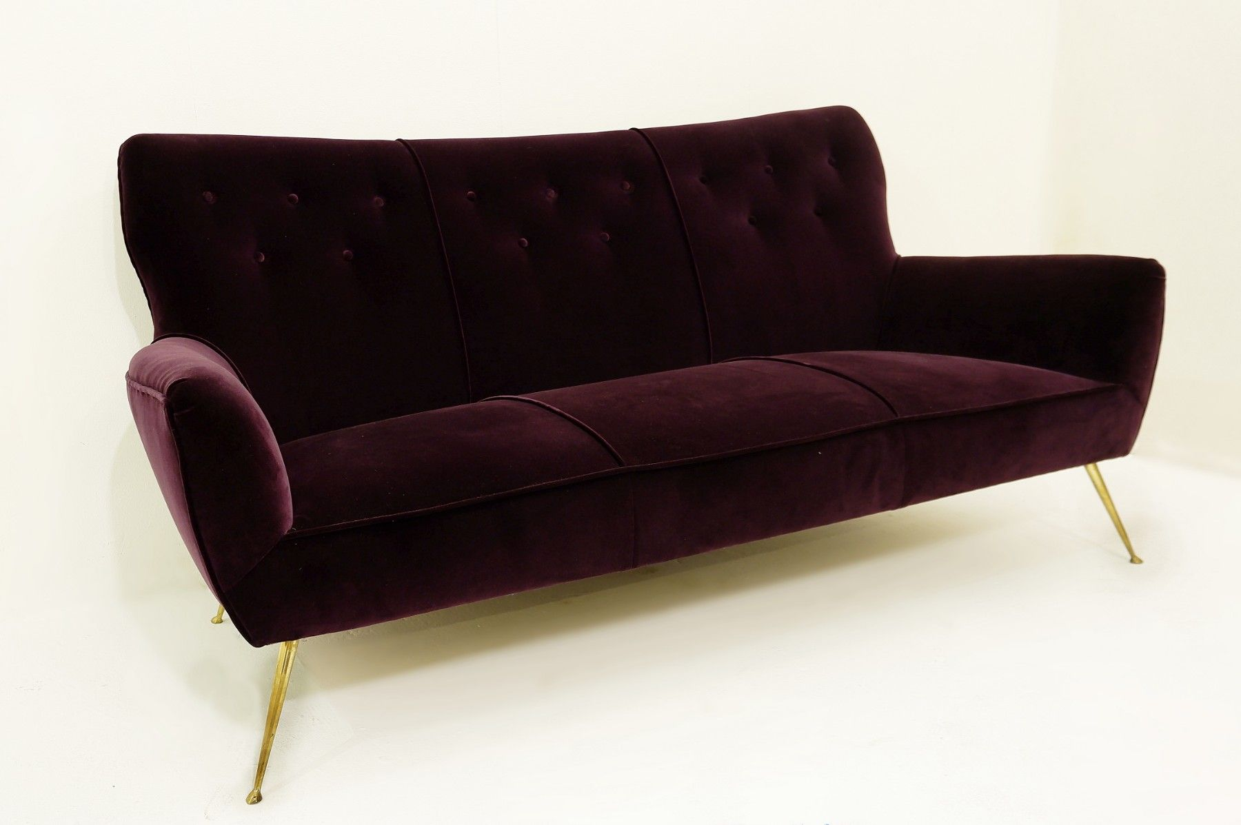 Marvelous Italian Vintage Sofa In Burgundy Velvet And Brass 1950 Machost Co Dining Chair Design Ideas Machostcouk