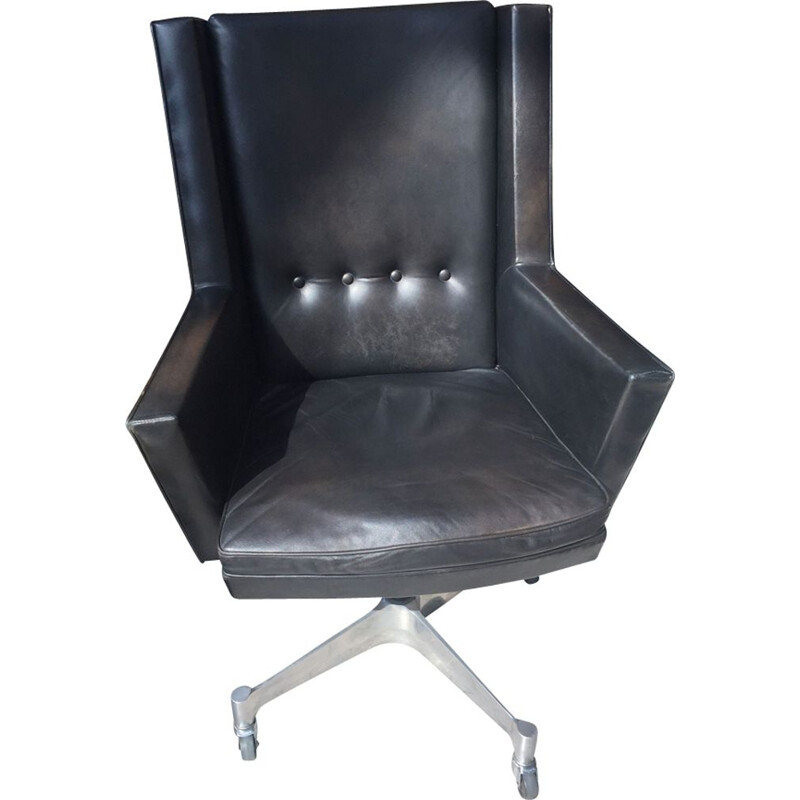 Vintage desk chair Jules Wabbes black leather 1960