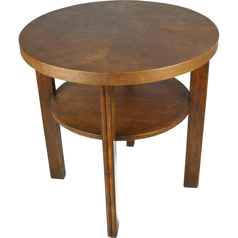 Vintage coffee table round in oak Germany 1960s