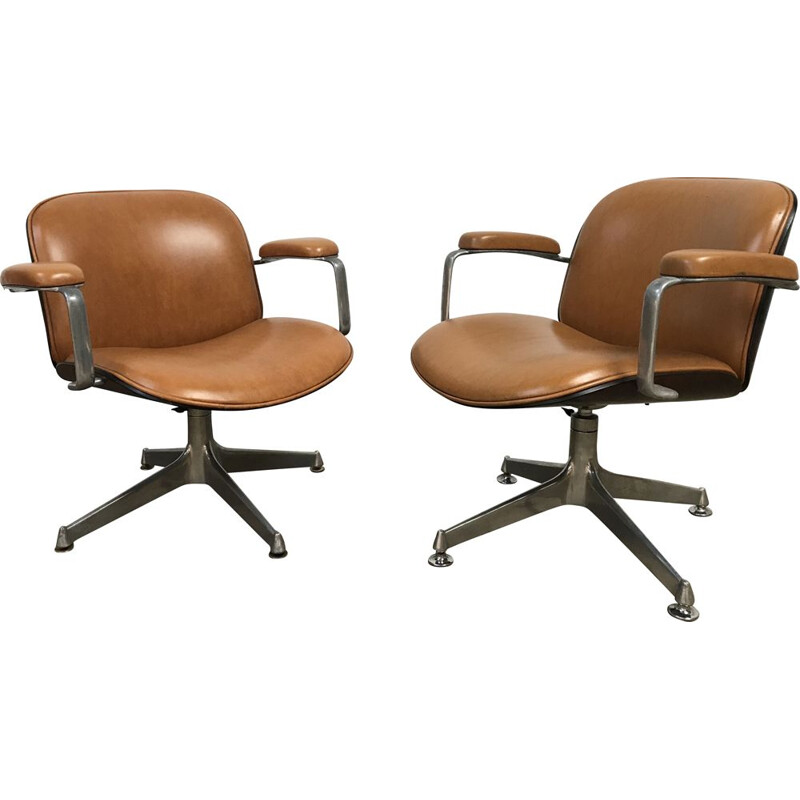 Pair of vintage armchairs for MIM in brown vinyle and aluminum 1960
