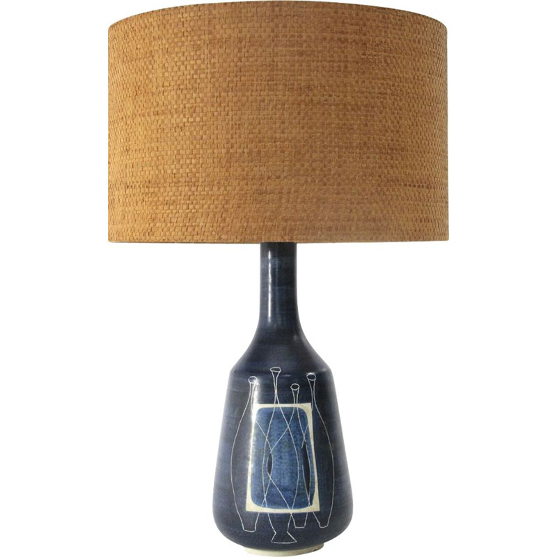 Vintage blue glazed ceramic italian table lamp 1950