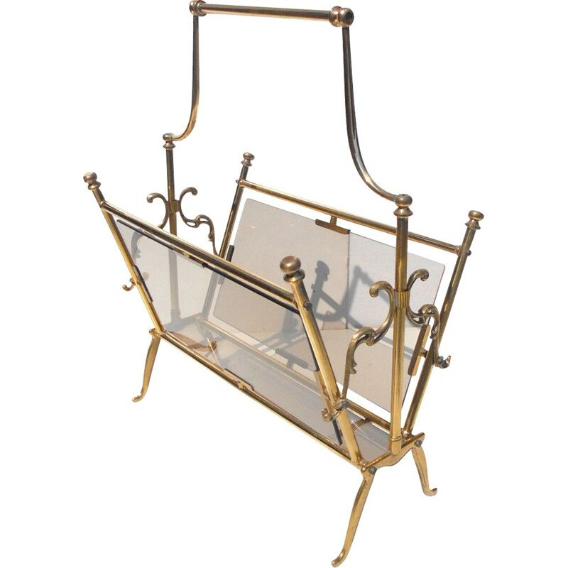Vintage magazine rack by Lacca in brass and glass 1950